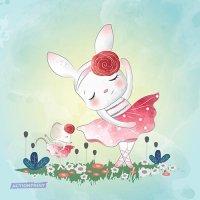 Atvirukas Šokanti Bunny su maža pelyte