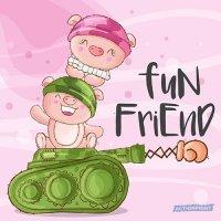 Atvirukas Mielosios karinės kliaulytės - Fun friend