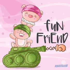 Atvirukai Mielosios karinės kliaulytės - Fun friend, 6 vnt