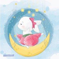 Atvirukas Mieloji Bunny šoka mėnulyje