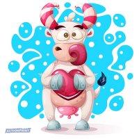 Atvirukas Įdomi karvutė su širdele