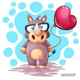 Atvirukai Mielas juokingas raganosis su balionu, 6 vnt