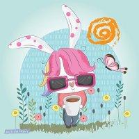 Atvirukas Nuostabioji Bunny su vaivorykšte