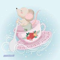 Atvirukas Mažoji pelytė plaukia arbatos puodelyje