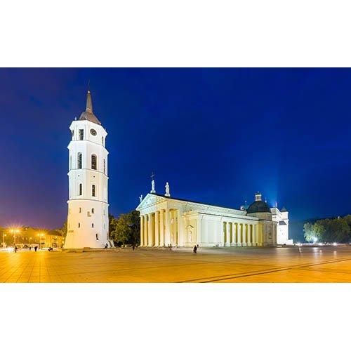 Drobė horizontali Vilniaus katedra, naktinis Vilnius, Vilnius, Lietuva