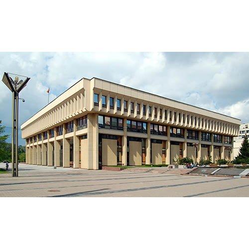 Drobė horizontali Seimo rūmai, Vilnius, Lietuva