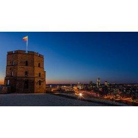 Drobė horizontali Gedimino pilis naktį, Vilnius, Lietuva