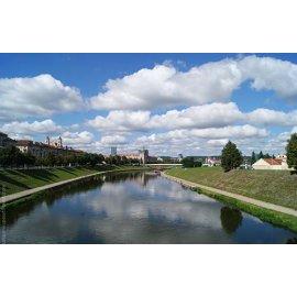 Drobė horizontali Neries upė, Vilnius, Lietuva