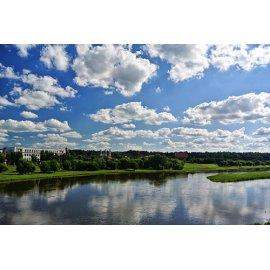 Drobė horizontali Kauno centro panorama, Kaunas, Lietuva