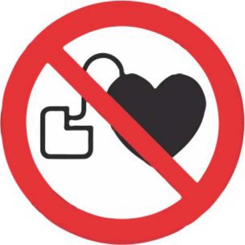 Lipdukas Draudžiama eiti su širdies stimuliatoriumi