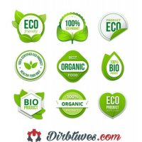 16 vnt, Etiketės-lipdukai Eco friendly, Organic, BIO product, ekologiški