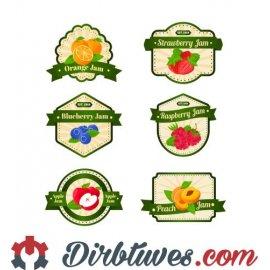 16 vnt, Etiketės-lipdukai Apelsinų, braškių, mėlynių, aviečių, obuolių, abrikosų džemas