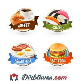 16 vnt, Etiketės-lipdukai Kava, Suši, Pusryčiai, Greitas maistas