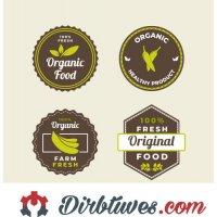 16 vnt, Etiketės-lipdukai Organic Food, Healthy product, Farm fresh