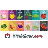 16 vnt, Etiketės-lipdukai Brokolis, Čili pipiras, Baklažanas, Šparagai, Žirneliai, Kalafioras, Paprika, Ridikėliai,  Pomidorai