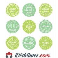 16 vnt, Etiketės-lipdukai Organic Food, Fresh