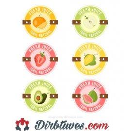 16 vnt, Etiketės-lipdukai Fresh Juice, 100% natural