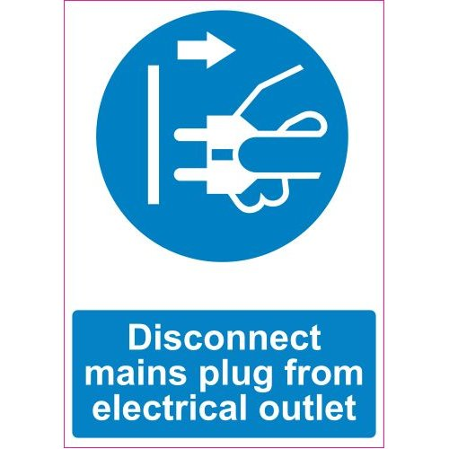 Lipdukas Disconnect mains plug from electrical outlet