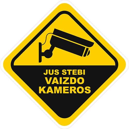Įspėjamasis lipdukas Atsargiai! Stebi vaizdo kameros CCTV 002
