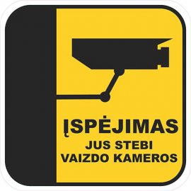 Įspėjamasis lipdukas Atsargiai! Stebi vaizdo kameros CCTV 007