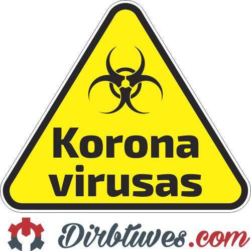 Įspėjamasis lipdukas Atsargiai! Koronavirusas, Covid-19