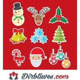 16 vnt, Kalėdiniai lipdukai Eglutė, elnias, senis šaltis