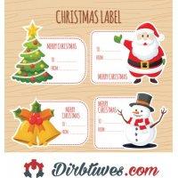 16 vnt, Kalėdiniai lipdukai Merry Christmas, Linksmų Šv. Kalėdų, Label