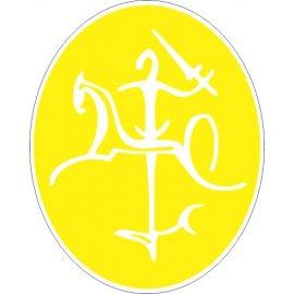 Lipdukas Lietuvos Vytis baltas geltoname fone