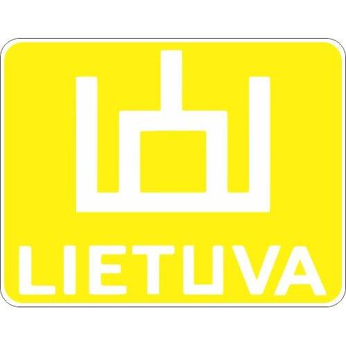 Lipdukas Lietuva ženklas baltas geltoname fone