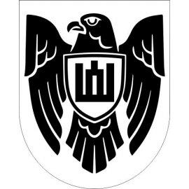 Lipdukas Istorinės Lietuvos ženklas juodas baltame fone