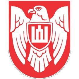 Lipdukas Istorinės Lietuvos ženklas baltas raudoname fone