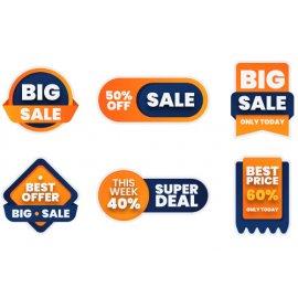 Etiketė-lipdukai nuolaidos, akcijos, oranžinė-mėlyna, 16 vnt   - 00002