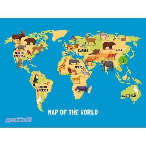 Plakatas mokomasis Gyvūnų pasaulio žemėlapis