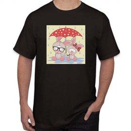 Marškinėliai Mieli kiškučiai  ir lietsargis