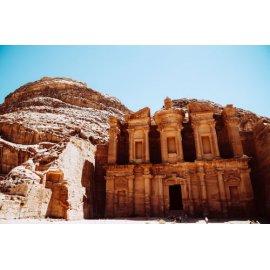 Fototapetai Uoloje iškaltas pastatas Petra, Jordanija