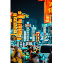 Fototapetai Miestas apšviestas parduotuvių ženklais, Chinatown, Bankokas, Tailandas - 2