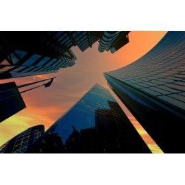 Fototapetai Stikliniai dangoraižiai iš apačios